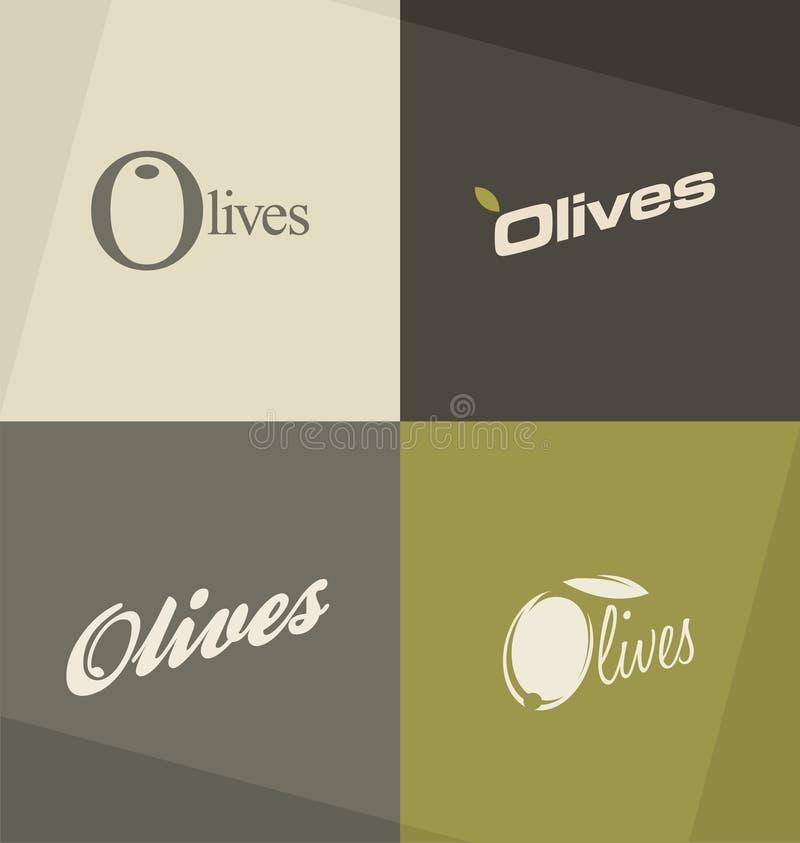 Conceitos e ideias do logotipo das azeitonas ilustração do vetor