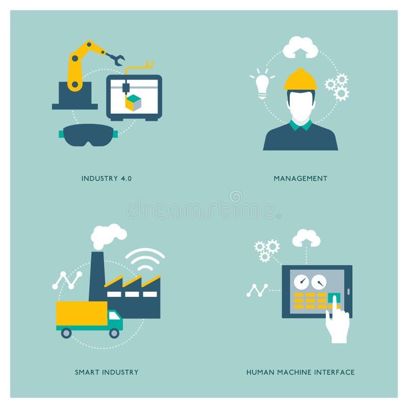 Conceitos espertos da indústria e da automatização ilustração do vetor