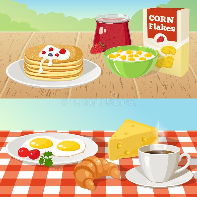 Conceitos exteriores do café da manhã ilustração stock