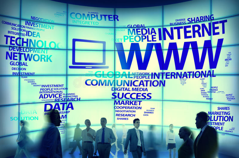 Conceitos globais do Internet da conexão do world wide web fotos de stock