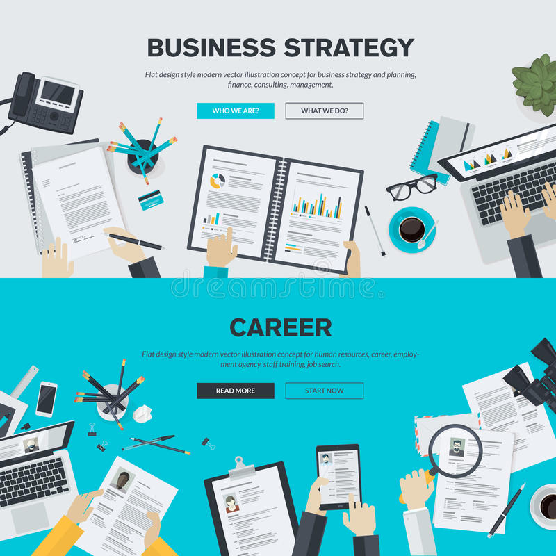 Conceitos lisos da ilustração do projeto para o negócio e a carreira ilustração stock
