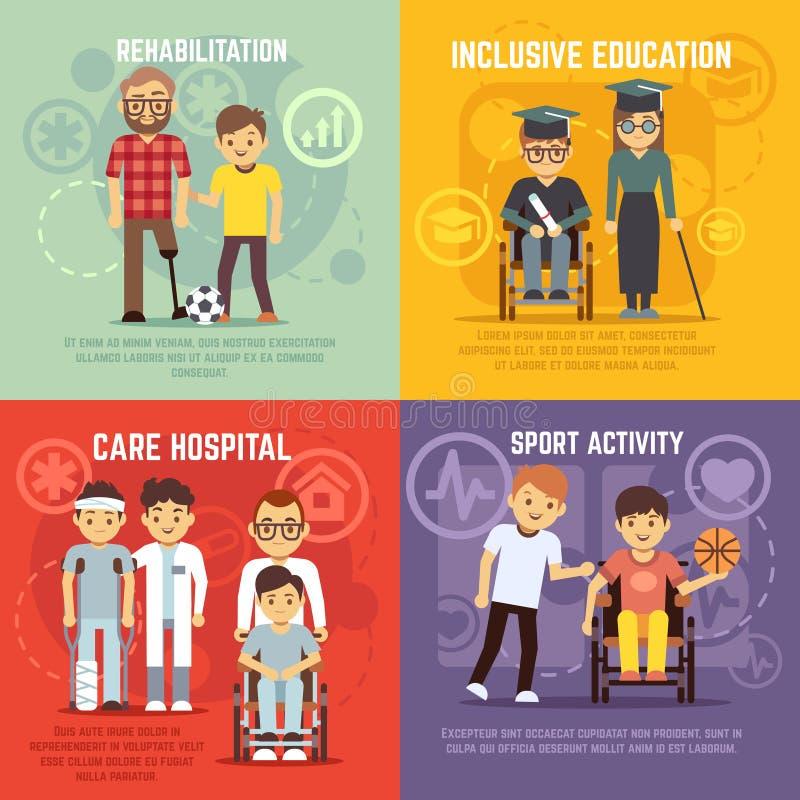 Conceitos lisos do vetor do cuidado da pessoa deficiente ajustados ilustração royalty free