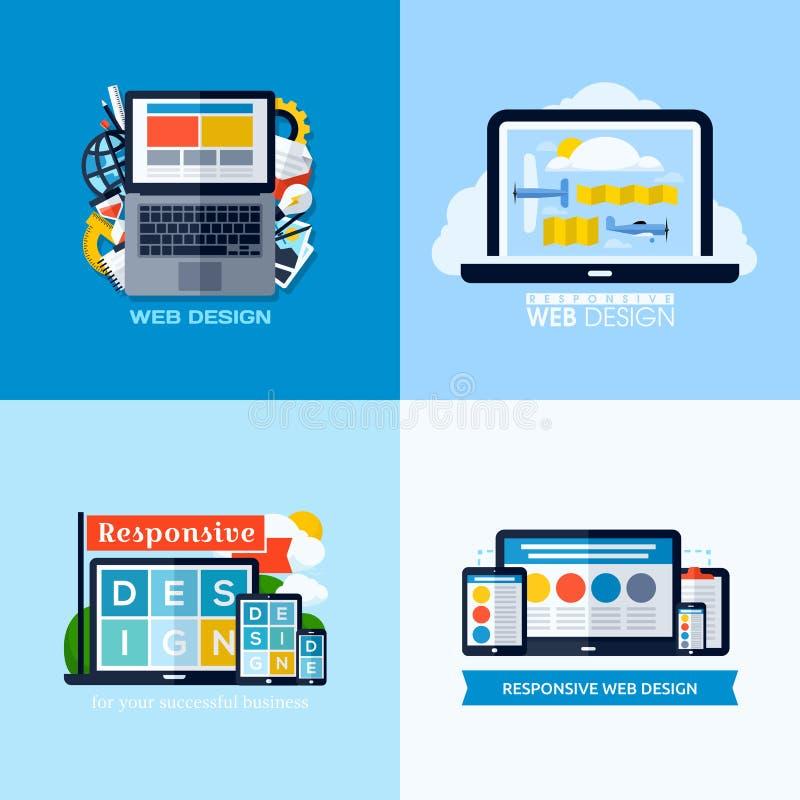 Conceitos lisos modernos do vetor do design web responsivo Ícones ajustados ilustração do vetor