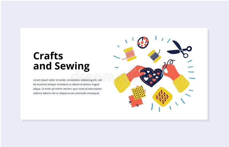 Conceitos para costurar, acessórios, acessível feito ilustração stock