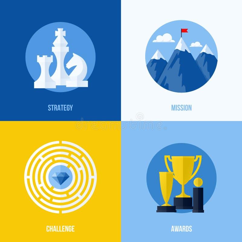 Conceitos para a estratégia, missão, desafio, concessões ilustração stock