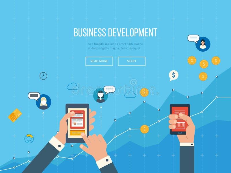 Conceitos para o desenvolvimento de negócios, os trabalhos de equipa, o relatório financeiro e a estratégia ilustração stock