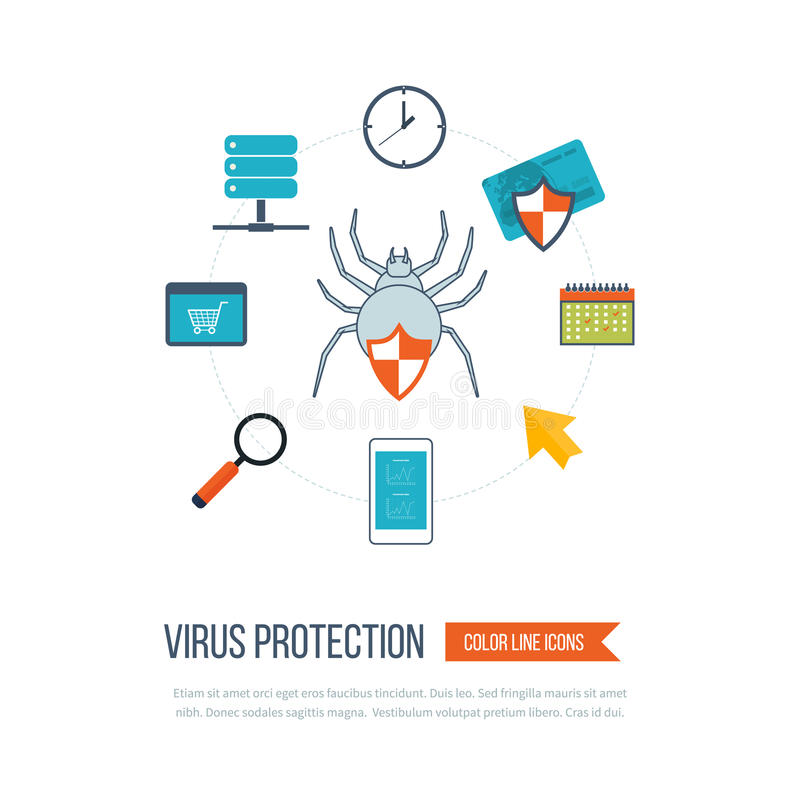Conceitos para a segurança da proteção de dados e do Internet ilustração royalty free