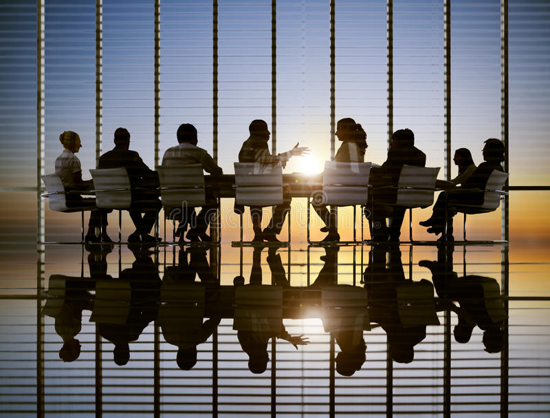 Conceitos profissionais da estratégia de Sun da reunião de negócios fotografia de stock royalty free