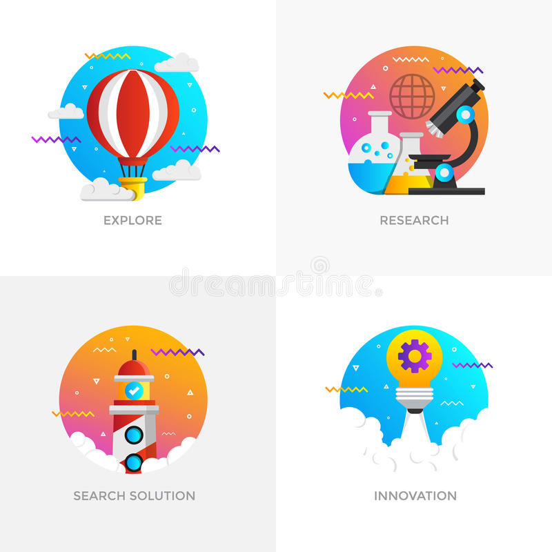Conceitos projetados lisos - 7 coloridos ilustração stock