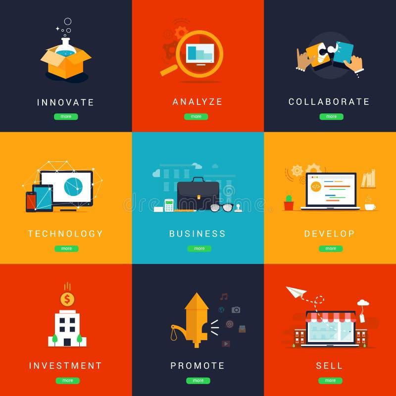 Conceitos projetados lisos do negócio para a inovação ilustração stock