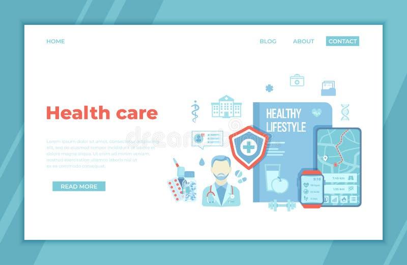 Conceitos saudáveis do estilo de vida da vida natural da monitoração dos cuidados médicos Ajuda médica, atividade física, dieta,  ilustração royalty free