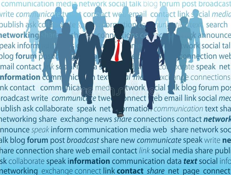 Conceitos sociais dos povos da rede dos media do negócio ilustração do vetor