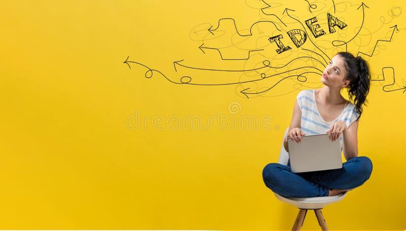 Conceituando setas da ideia com a mulher que usa um portátil imagens de stock