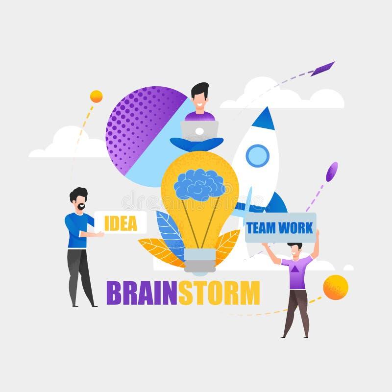 Conceituando Team Work Idea On muitos projetos duros ilustração royalty free