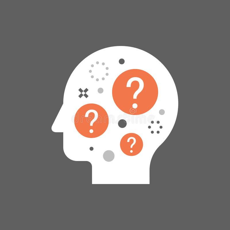 Conceituar o conceito, tomada de decisão, escolha difícil, dilema moral, pensador da filosofia, ciência do comportamento ilustração stock