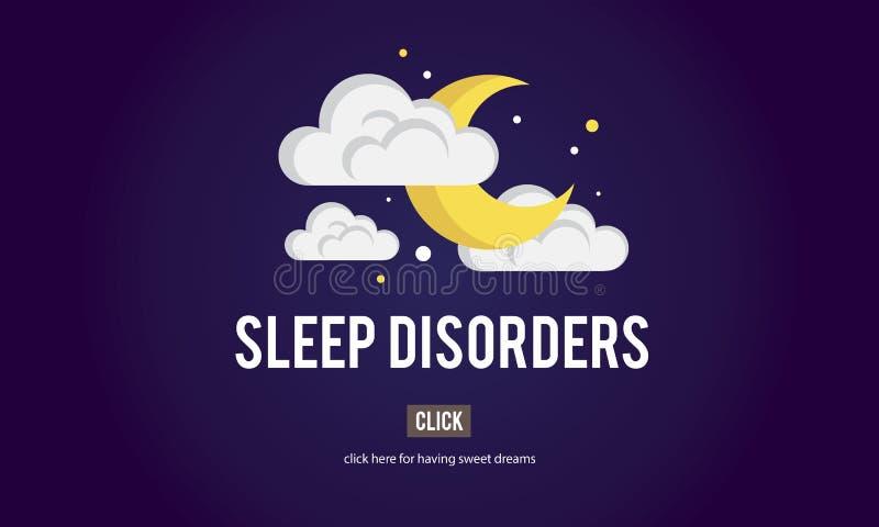 Concentré sans sommeil de désordres de privations de sommeil d'insomnie d'apnée du sommeil illustration stock