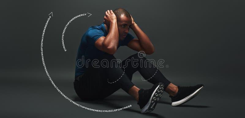 Concentraat op uw doelstellingen Sportman die over donkere achtergrond, werkende abs liggen Grafische tekening stock afbeeldingen