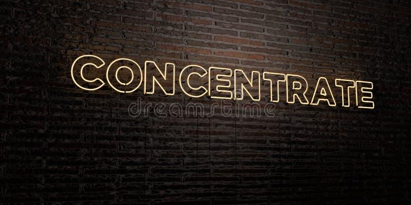 CONCENTRAAT - Realistisch Neonteken op Bakstenen muurachtergrond - 3D teruggegeven royalty vrij voorraadbeeld stock illustratie