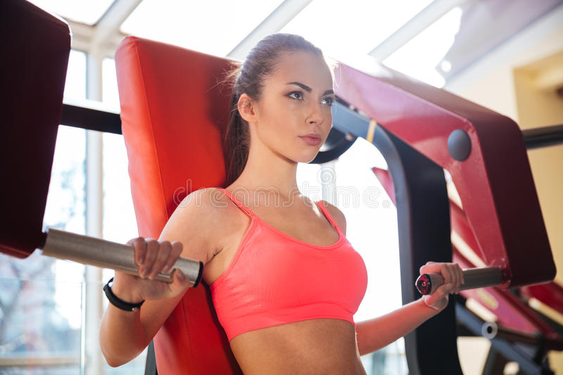 Concentrated beautiful young woman athlete training in gym stock image