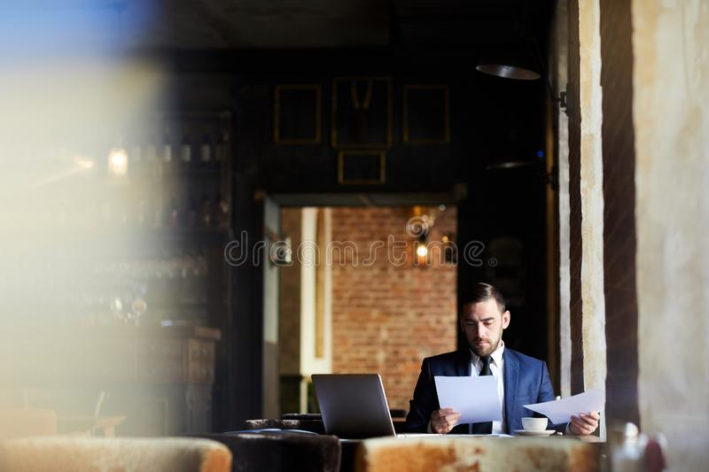 Concentrated business analyst examining report. Serious concentrated handsome business analyst in formal jacket examining report or reading contract while royalty free stock photo