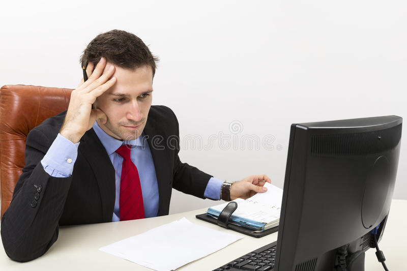 Download Concentrated business man stock photo. Image of computer - 28734098