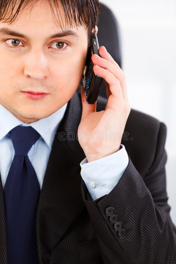 Download Concentrated Business Man Talking On Mobile Stock Photo - Image of costume, cell: 18066352