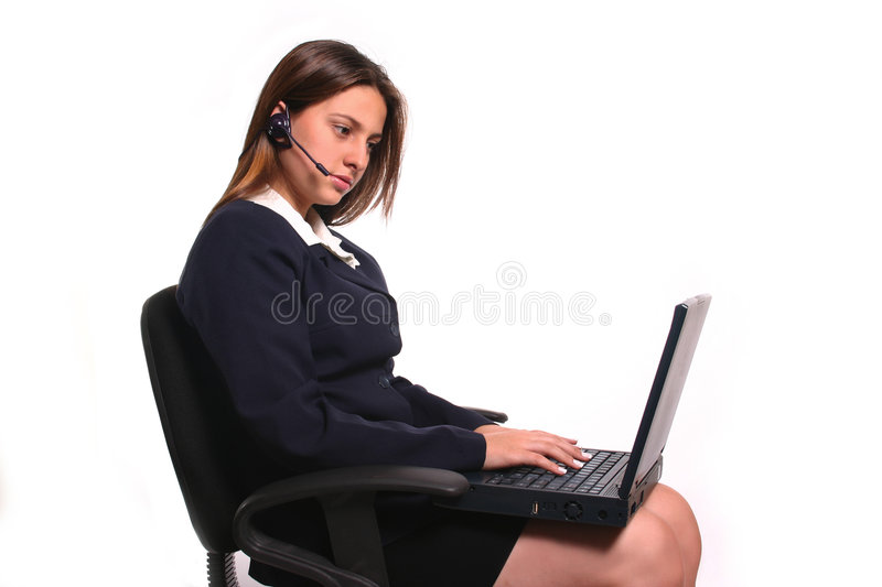 Concentrated Business Woman stock photo