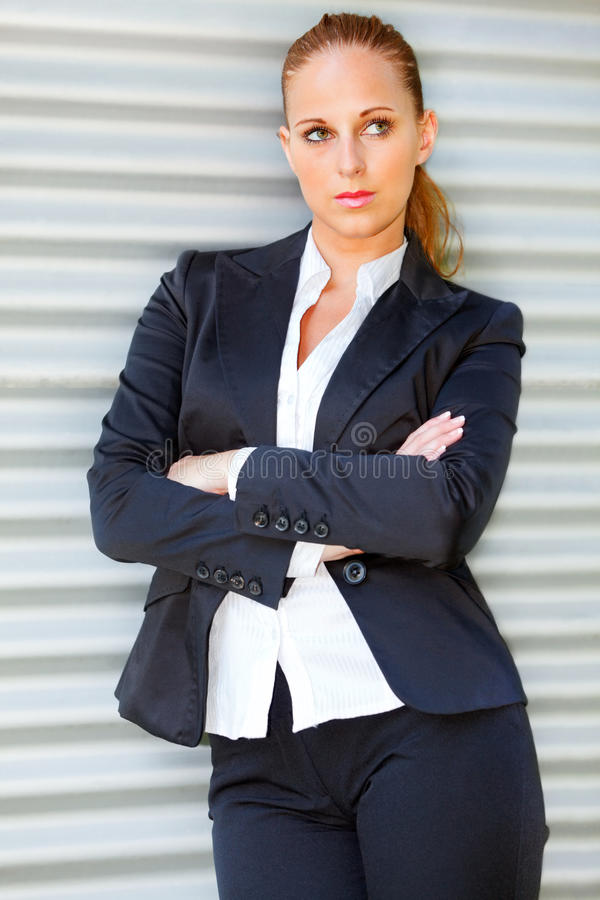Download Concentrated Business Woman Near Office Building Stock Photo - Image: 19927264