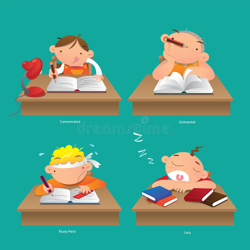 Concentrated, Distracted, Study hard and Lazy vector illustration