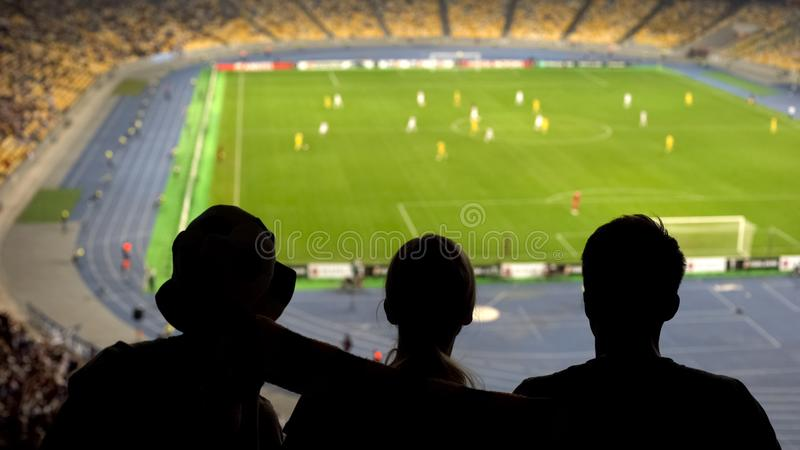 Concentrated fans looking at football pitch, dangerous moment, cheering team stock image