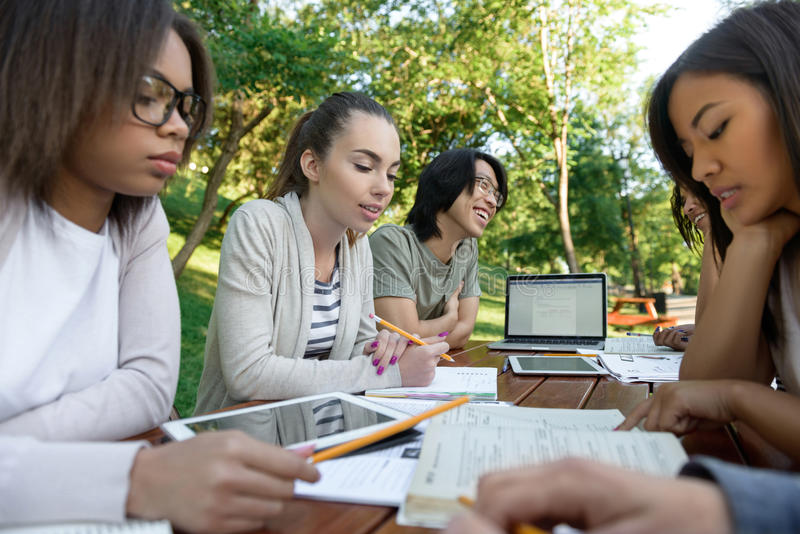 Concentrated group of young students royalty free stock images