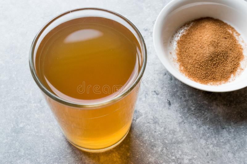 Concentrated Herbal Tea Powder for Stomach Gastric Problem / Lemon Flavored stock photo
