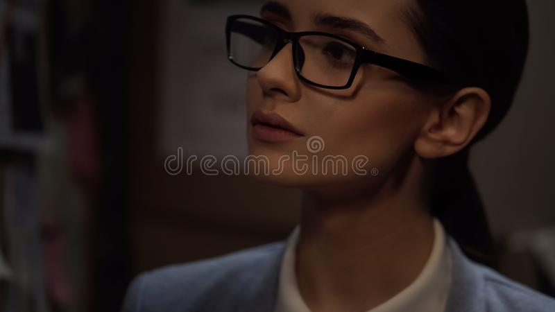 Concentrated lady politician in glasses, presidential election, female candidate stock images