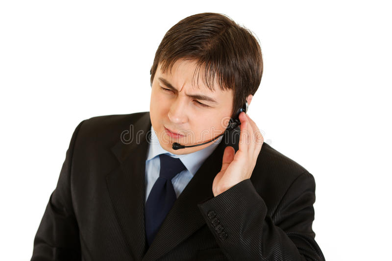 Concentrated Modern Businessman With Headset Stock Images