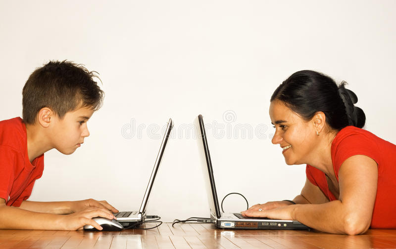 Download Concentrated on pc work stock image. Image of lying, watching - 10885757