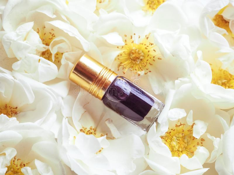 Concentrated perfume in a mini bottle on a floral background. stock images