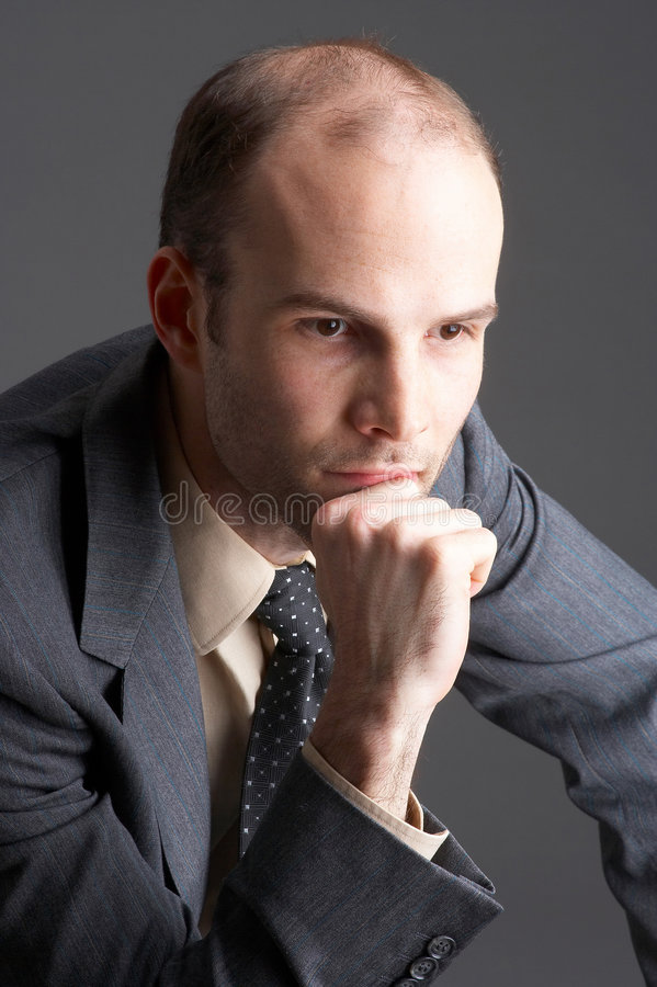 concentrated thinking stock image