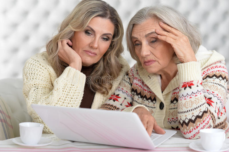 Concentrated women with laptop royalty free stock image
