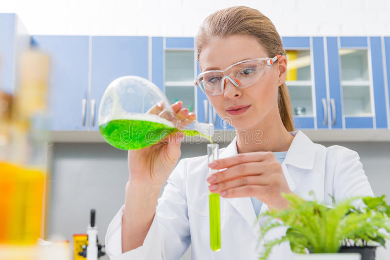 Concentrated young scientist in protective glasses and white coat making experiment stock image