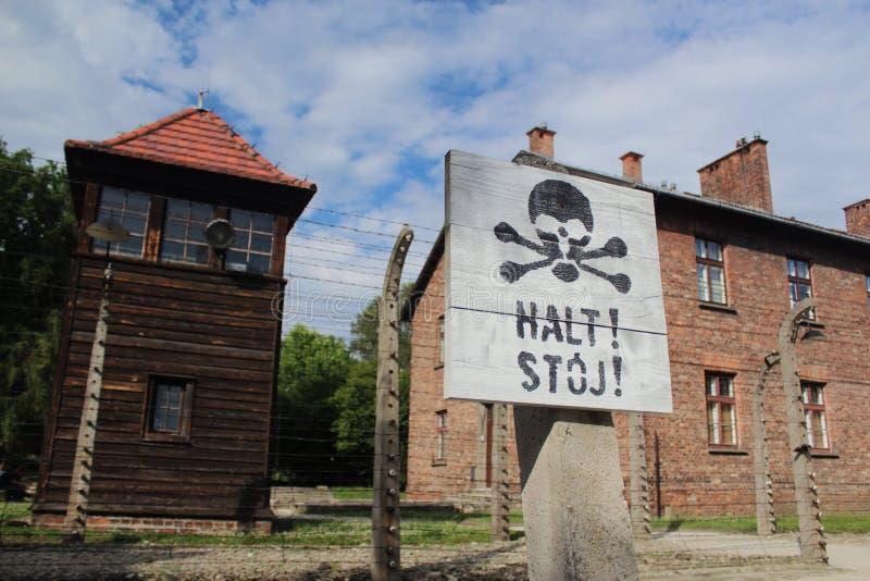 Concentratiekamp auschwitz-Birkenau stock afbeelding