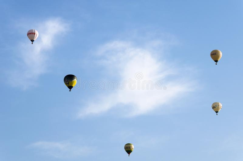 Igualada, Barcelona, July 12, 2019, 23rd European Balloon Festival. Hot air balloon festival, competition flights. Concentration of aerostatic balloons from stock photography