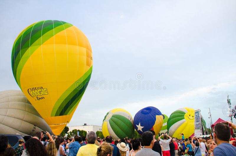 Igualada, Barcelona, July 12, 2019, 23rd European Balloon Festival. Hot air balloon festival, competition flights. Concentration of aerostatic balloons from stock photos