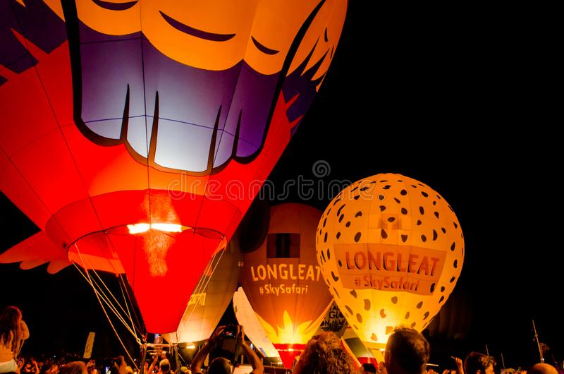 Igualada, Barcelona, July 12, 2019, 23rd European Balloon Festival. Hot air balloon festival, competition flights. Concentration of aerostatic balloons from stock images