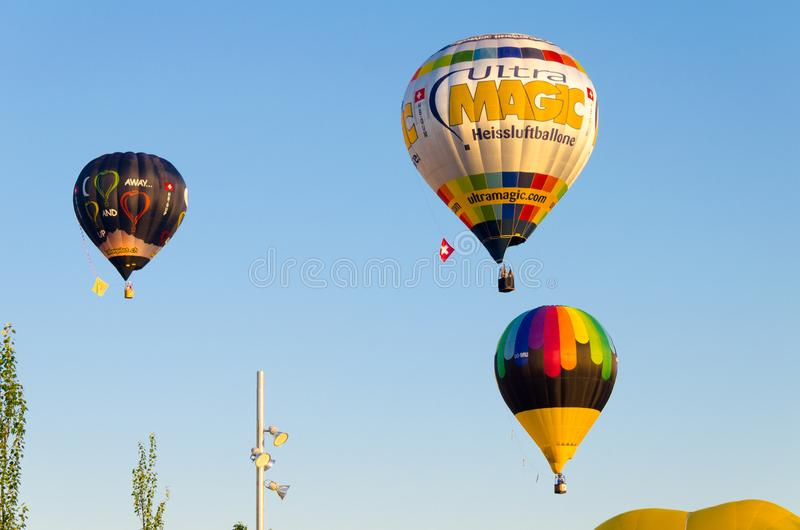 Igualada, Barcelona, July 12, 2019, 23rd European Balloon Festival. Hot air balloon festival, competition flights. Concentration of aerostatic balloons from royalty free stock image