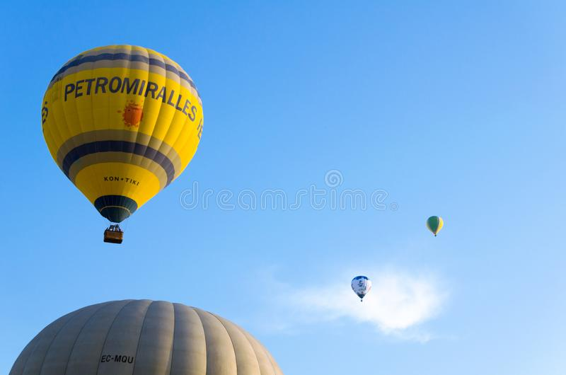 Igualada, Barcelona, July 12, 2019, 23rd European Balloon Festival. Hot air balloon festival, competition flights. Concentration of aerostatic balloons from royalty free stock images