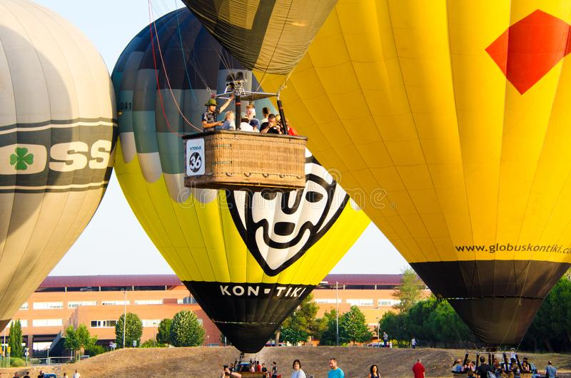 Igualada, Barcelona, July 12, 2019, 23rd European Balloon Festival. Hot air balloon festival, competition flights. Concentration of aerostatic balloons from royalty free stock photography