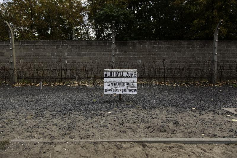 Concentration camp in Berlin. Detail of holocaust and extermination, green, landscape, tree, death, tourism, main, entrance, execution, metal, nazi, government stock image