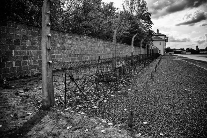 Concentration camp in Berlin. Detail of holocaust and extermination, green, landscape, tree, death, tourism, main, entrance, execution, metal, nazi, government stock photos