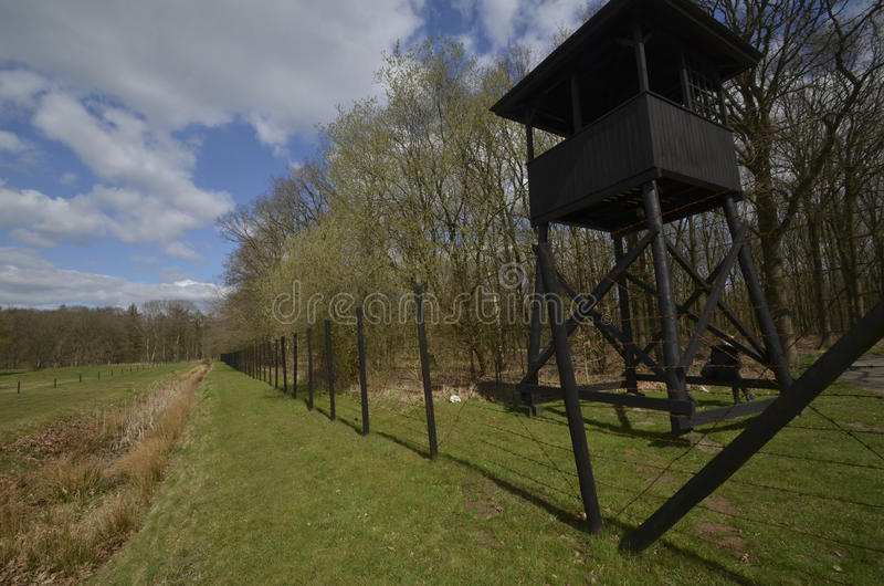 Concentration camp watch tower. On the historical concentration camp site in Drenthe, Holland - westerbork royalty free stock photography