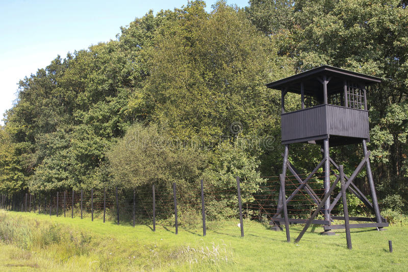 Concentration camp Westerbork watchtower stock photo